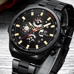 Nowy 2019 automatyczny zegarek mechaniczny mężczyźni luksusowej marki męskie zegarki faza księżyca czarne zegarki na rękę wodoodporny relogio masculino