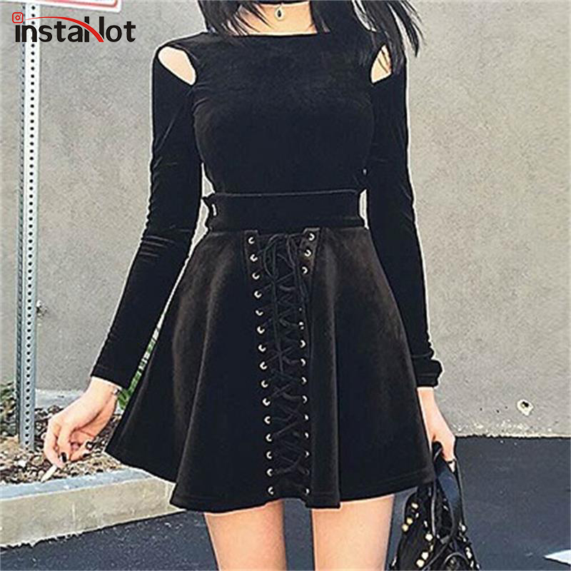 InstaHot Black Velvet Gothic Lace Up Skirts Women 2019 Spring Ruched 2 Piece Set Lady High Waist Mini Skirts Punk Streetwear New