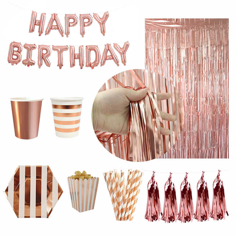 Birthday Party Supplies Rose Gold Happy Birthday Balloons Paper Plate Cup Napkin Kids Adult Birthday Party Decoration