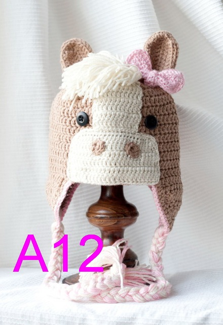 60pcs lot Cute Crochet Horse Hats with Ear Flaps 81af885be34