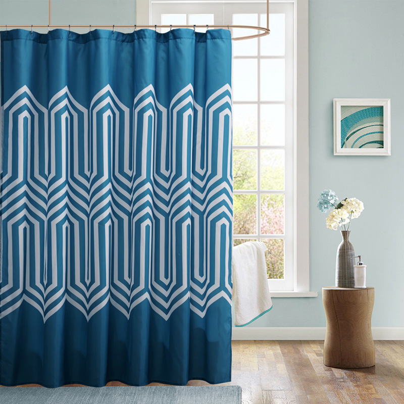 Blue Polyester Fabric Shower Curtain 70x72 Inch Geometric Printed ...