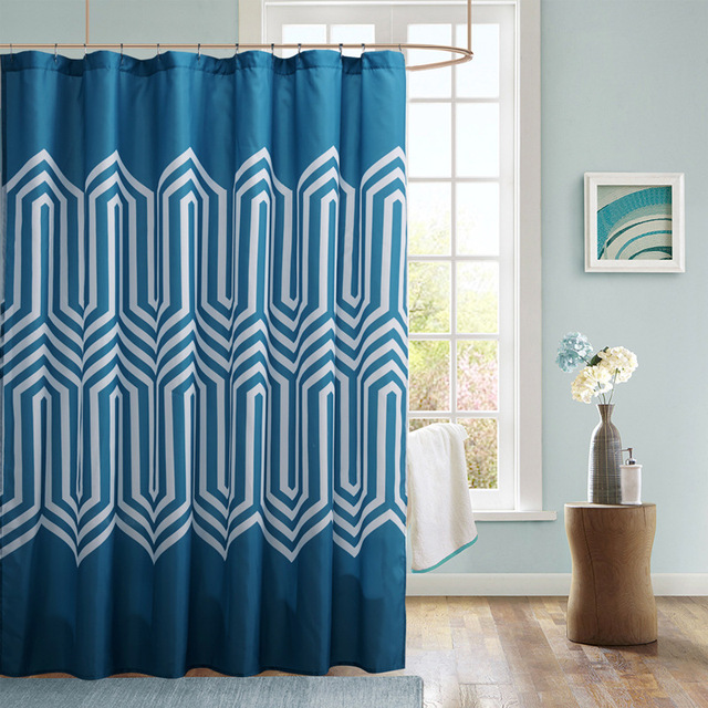 Blue Polyester Fabric Shower Curtain 70x72 Inch Geometric Printed  Waterproof Mildew Proof Bathroom Products