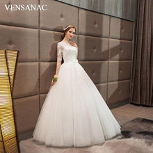 VENSANAC 2018 Sequined O Neck Bow Sash Ball Gown Wedding Dresses Lace Appliques Half Sleeve Open Back Bridal Gowns все цены