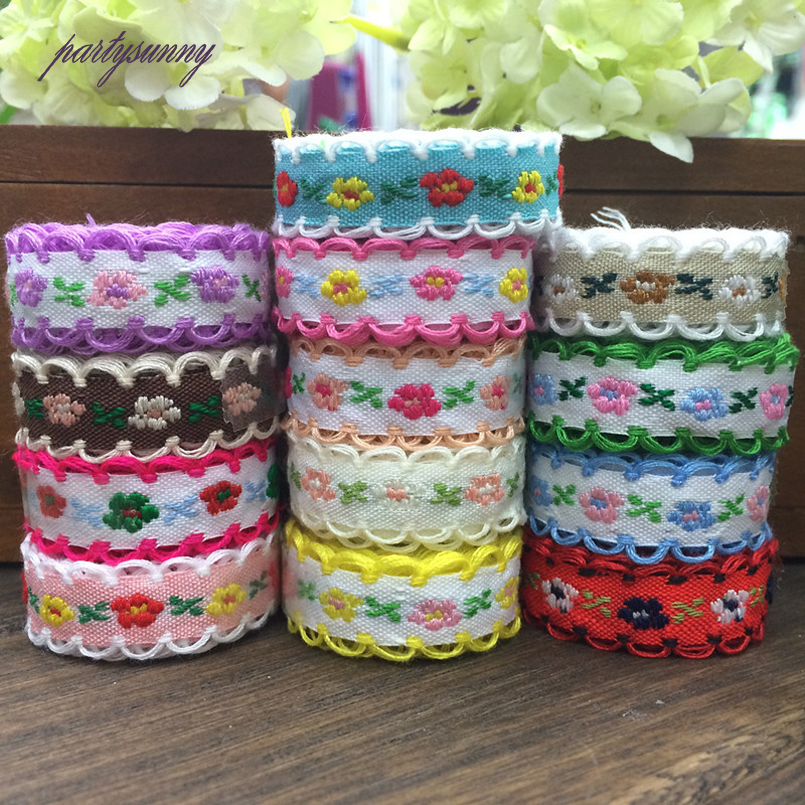 PF 22yards/lot 1.2cm National Style Lace Ribbon Small Floral Braid Embroidered Lace Trim for Sewing Child Dress Curtain HB022