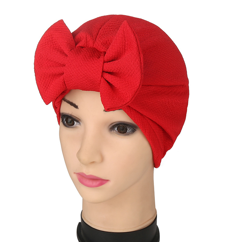 Fashion Women Solid Muslim Turban Indian Cap Bowknot Elastic Beanies Hat  Muslim Scarf Women Cotton Hijab Islamic