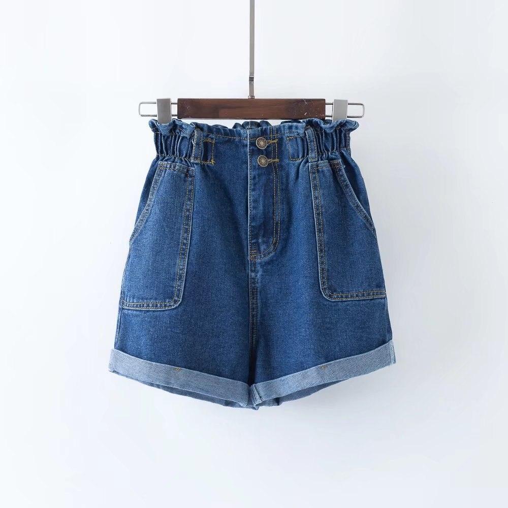 2019 Women Casual Short Pant Summer Blue Wide Leg High Waist Denim Jeans Shorts
