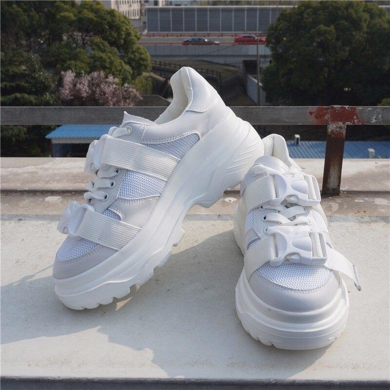 35f7c2790b67 ... RASMEUP Genuine Leather + Mesh Women s Platform Dad Sneakers 2018  Fashion Buckle Women Flat Walking Shoes ...
