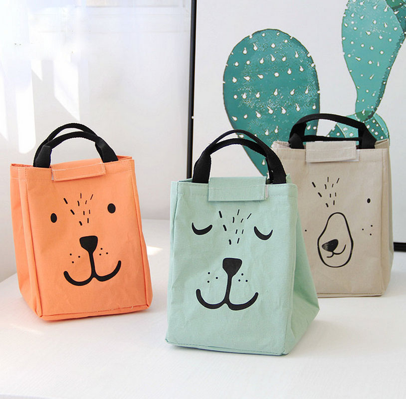 Fashion Portable Lunch Bag Insulated Thermal Bags for Women kids Men Cartoon Cooler Bag Lunch Box Tote Handbag 3Colors