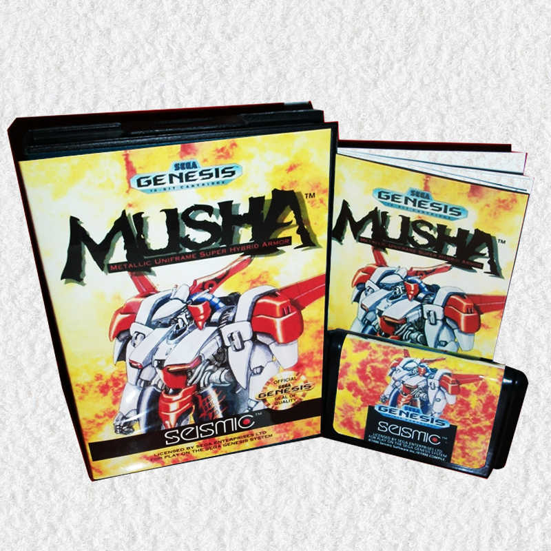 MUSHA US Cover with Box and Manual for Sega MegaDrive Video Game Console 16 bit MD card