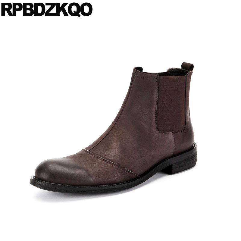 Party Ankle Chunky Boots Fall Dress Formal Brown Slip On Retro Winter Full Grain Faux Fur Short Chelsea Designer Mens ShoesParty Ankle Chunky Boots Fall Dress Formal Brown Slip On Retro Winter Full Grain Faux Fur Short Chelsea Designer Mens Shoes