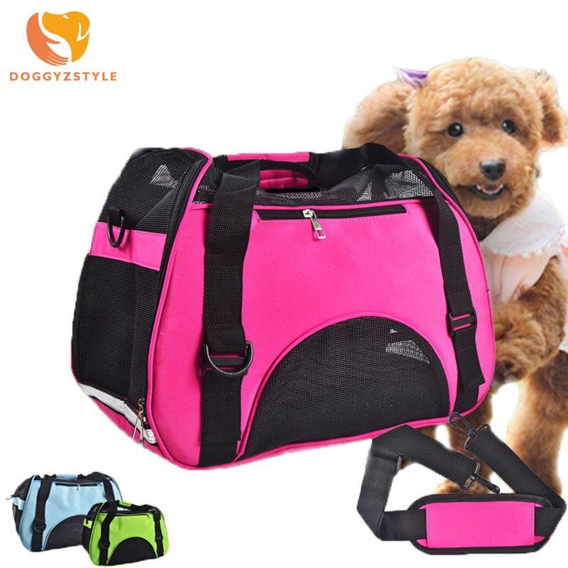 Canvas Grid Dog Cat Travel taske Portable Pet Carrier Håndtaske Sammenfoldelig taske Travels Puppy Carrying Rygsække Mesh Skuldertasker