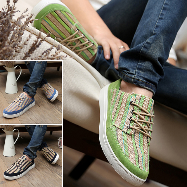 2013 male canvas shoes men skateboarding shoes fashion straw braid shoes low