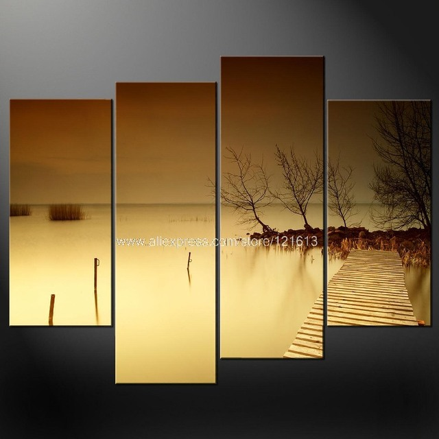 Misty Lake Dock Wall Art Cascade Canvas Picture Many Oil Paintings ...
