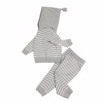 0 24M Super Cute Newborn Baby Suits Fashion Stripes Knit Infant Boys Girls Clothing Sets Spring