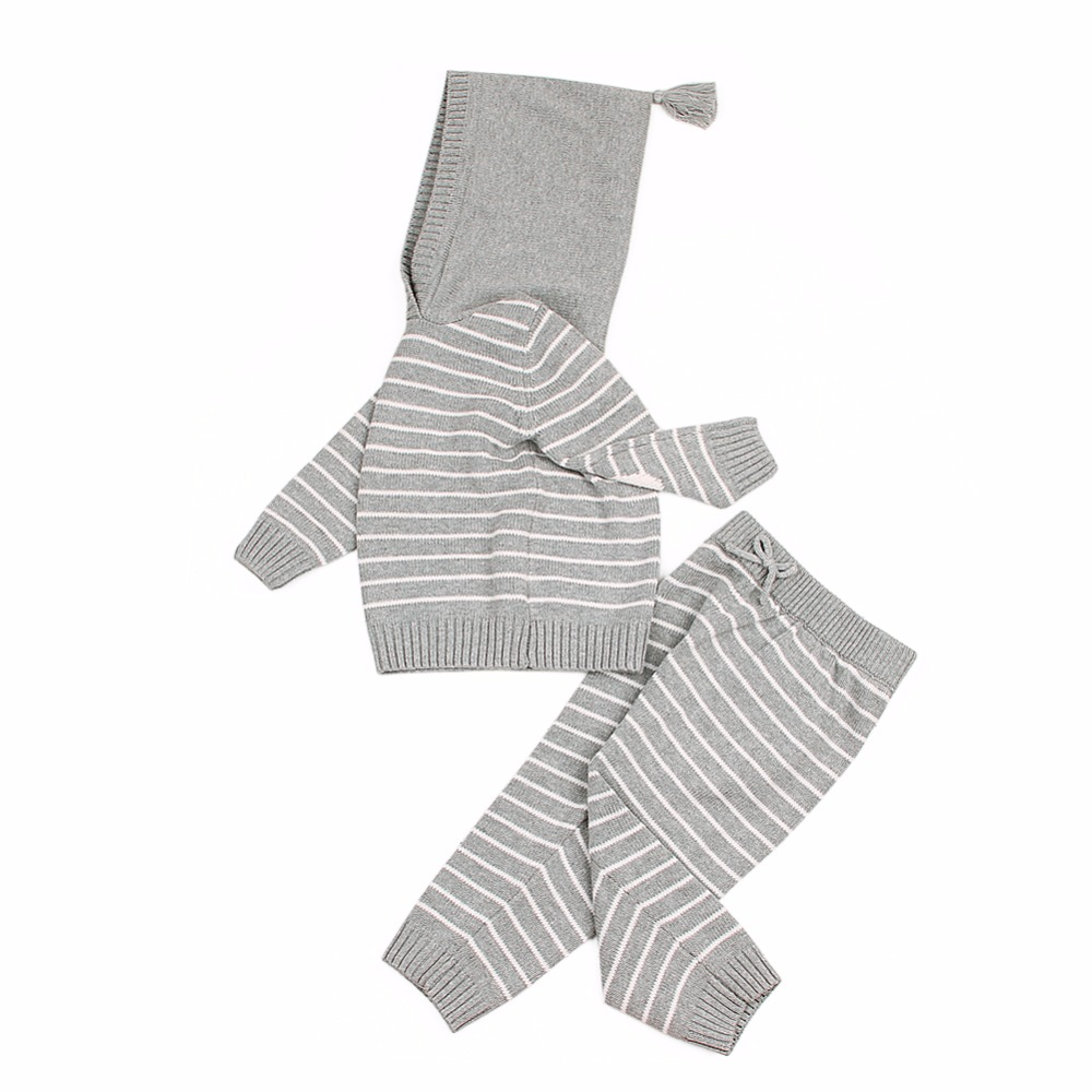 0-24M Super Cute Newborn Baby Suits Fashion Stripes Knit Infant Boys Girls Clothing Sets Spring Autumn Outerwear Children Outfit infant boys girls newborn winter autumn clothing cute fancy dress toddler costumes onesie novelty outfit baby animal romper