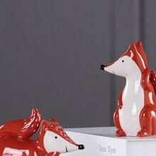 Modern Ceramic Squirrel deer fox Animal ornament tabletop miniature figurines garden crafts home decoration