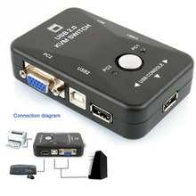 Коммутатор Мышь USB2.0 2-Порты и разъёмы адаптер распределительной коробки для клавиатуры монитор видео KVM 1920*1440 Прямая доставка @
