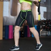цена на GANYANR Brand Running Tights Men Sports Leggings Skins Compression Sportswear Fitness Yoga Spandex Shorts Solid Gym Training