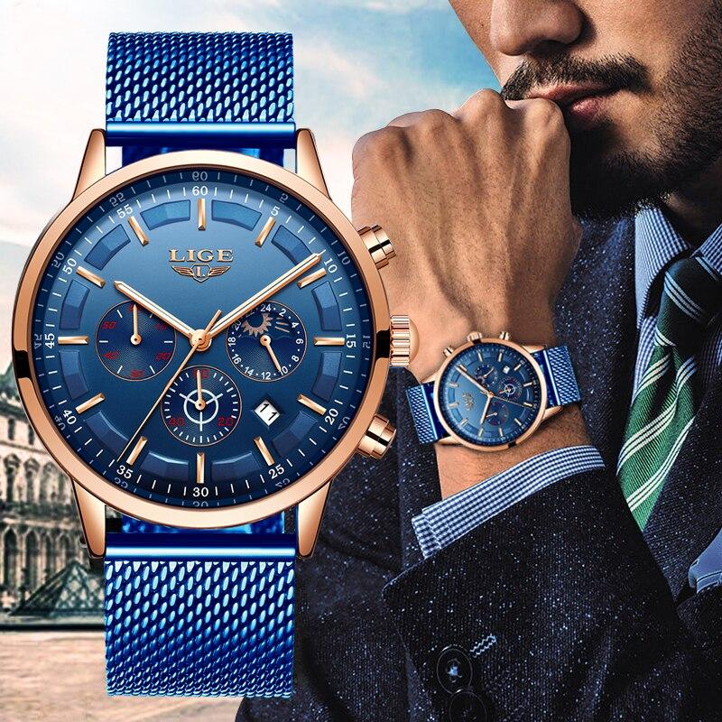 LIGE nouveau hommes montres mâle haut tendance marque de luxe en acier inoxydable bleu montre à Quartz décontracté Sport étanche montre Relojes