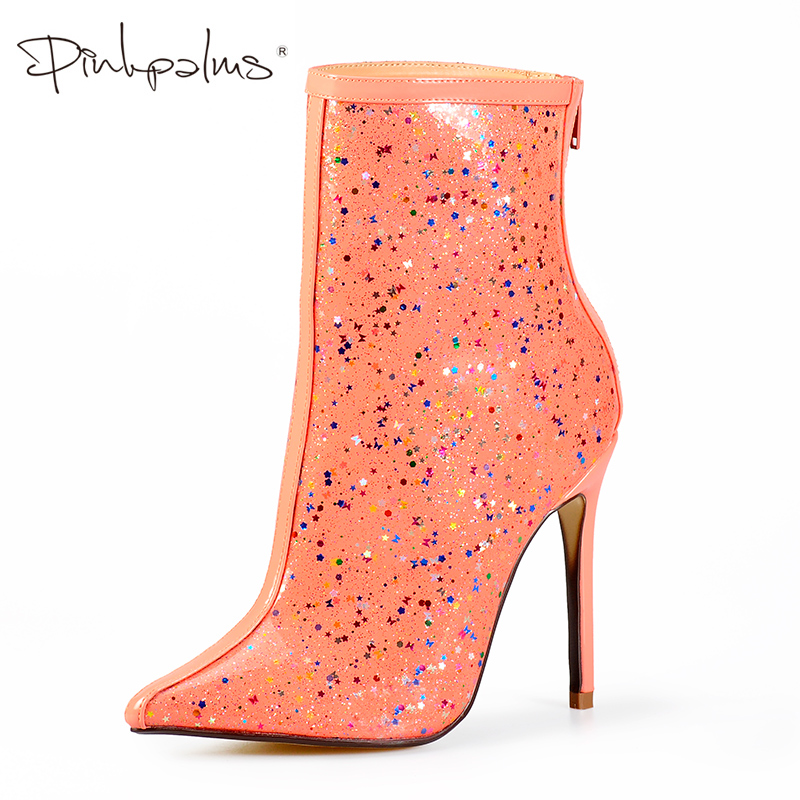 Pink Palms Ankle Boots for Women High Heels Boots Perspex Pvc Waterproof Stars and Butterfly Galaxy