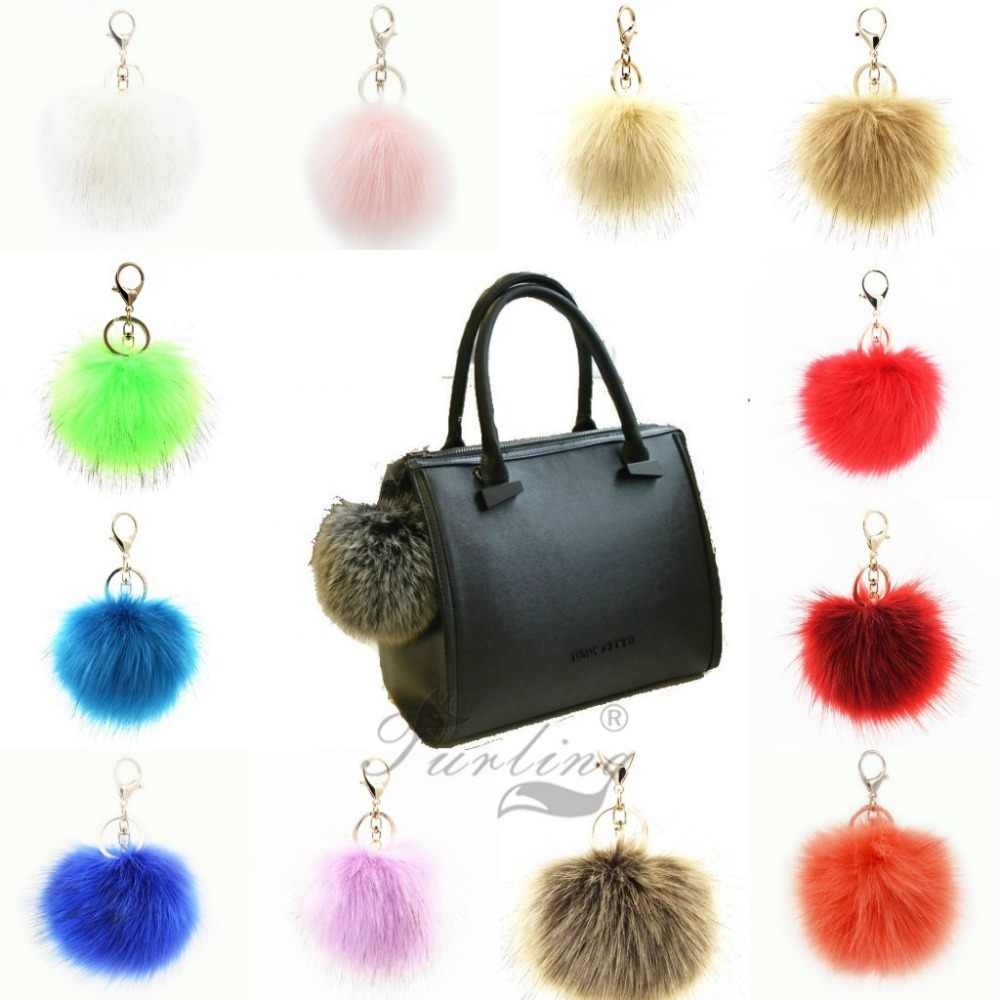 ... Furling 1PC first Fluffy Large 12CM Faux Fox Fur Pom pom Ball Key Chain Purse  Bag ... 59e03fb06247a