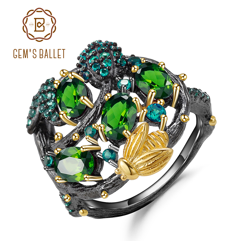 GEM'S BALLET 925 Sterling Silver Handmade Fine Jewelry Natural Chrome Diopside Gemstone Ring Gold Bee on Branch Rings for Women