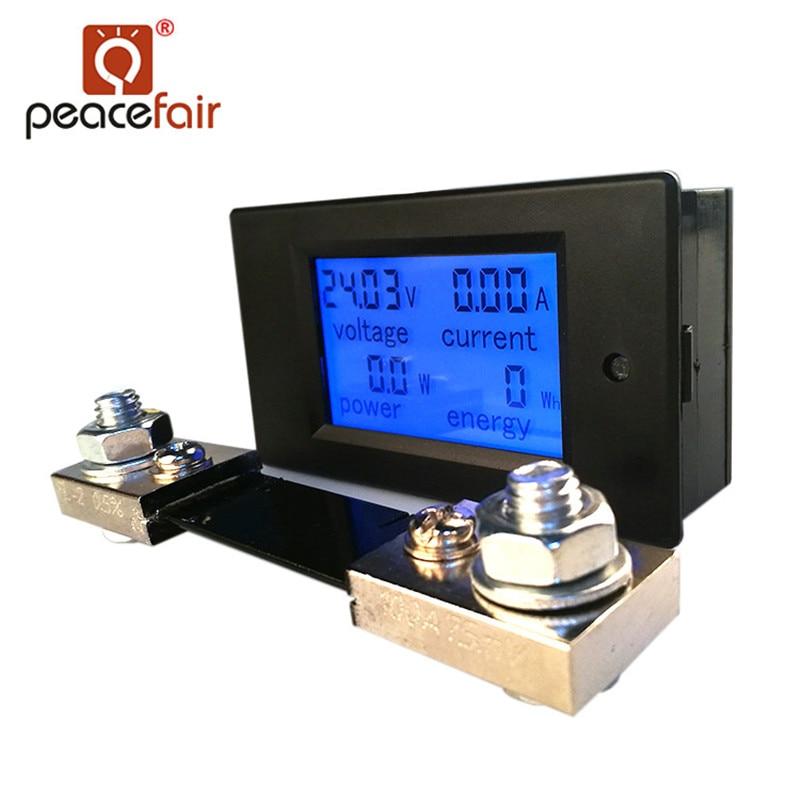 Amperometro digitale voltmetro DC DC Peacefair 6.5-100 V 100A 4 IN1 Tester di tensione auto Amp Watt Kwh metro con shunt 100A