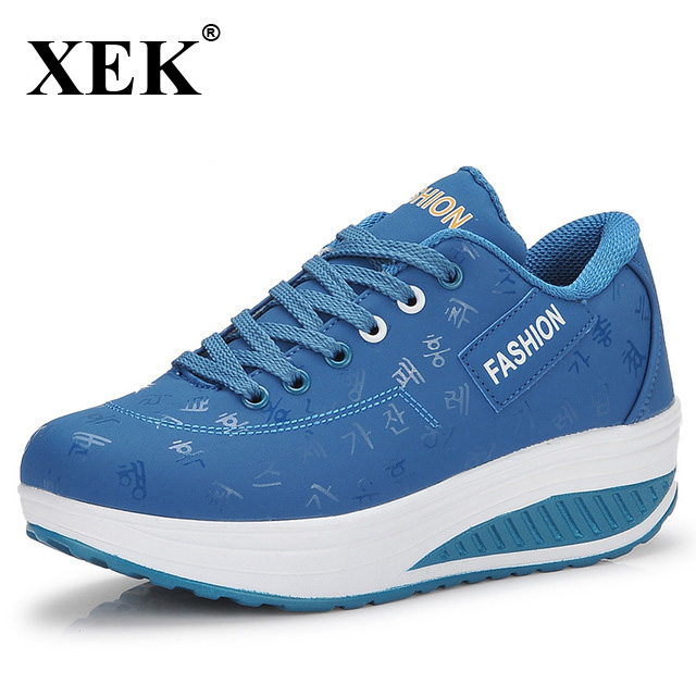 XEK 2018 New Hot Sale Women Swing Shoes Sports Breathable Non Slip Thick Bottom Ladies Wedges Running Sneakers For Women JH30