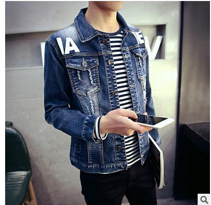 2016 New Mens Spring And Autumn Printing Stretch Denim Jackets Korean Slim Single Breasted Jeans Coats Male Cowboy Coats J1459