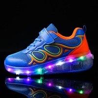 28 40PU Leather Single Wheel Glowing Sneakers LED Light Shoes Boys Girls Little Kids Big Kids