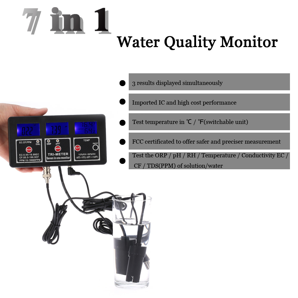 New 7in1 Digital LCD Multi-function Water Quality Monitor ORP / pH / RH / EC / CF / TDS(PPM) / TEMP Multiparameter Tester ph ec cf temp tds orp mv meter tester analyzer 6 in 1 multi function water quality testing monitor conductivity temprature