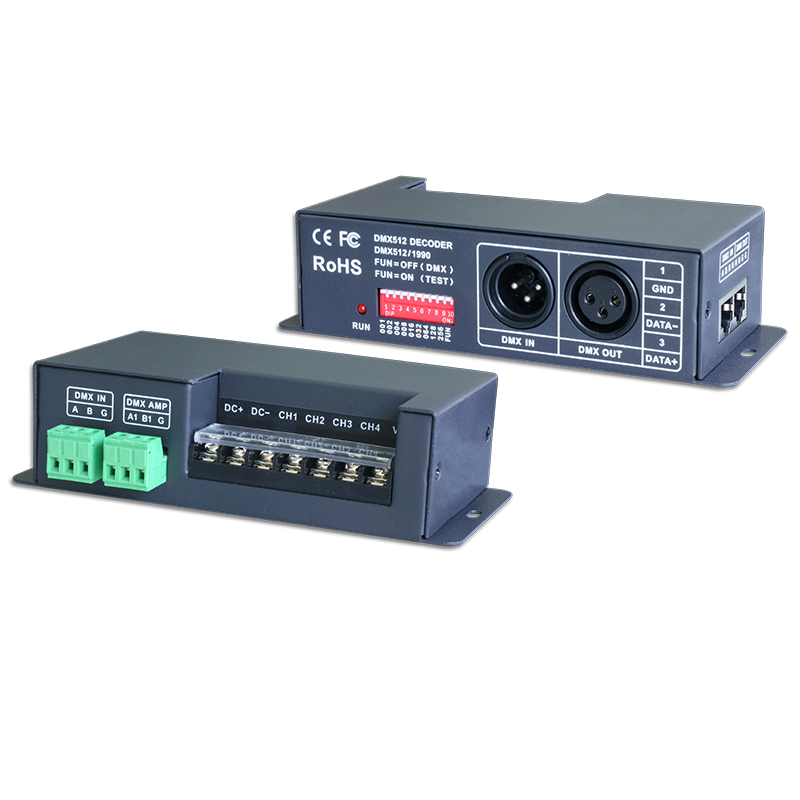 New LTECH Led DMX decoder DC12V DC 24V 6A*4CH 24A Output 4 channel RGBW Strip DMX512 Constant voltage Decoder LT-840-6A