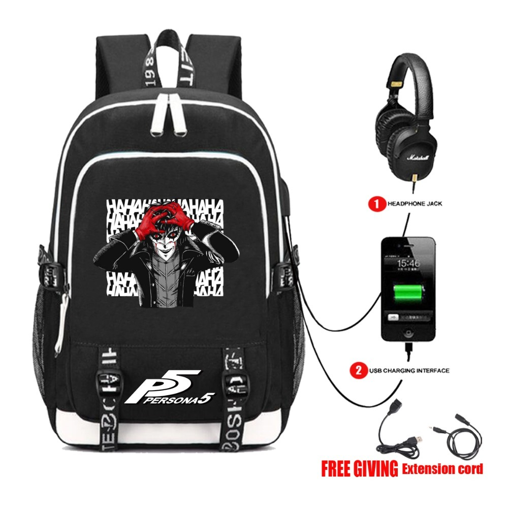 USB Charge Headphone jack Shoulder School Bags Teenagers Unisex <font><b>backpack</b></font> for Game P5 <font><b>Persona</b></font> <font><b>5</b></font> Yusuke Kitagawa Laptop <font><b>Backpack</b></font> image