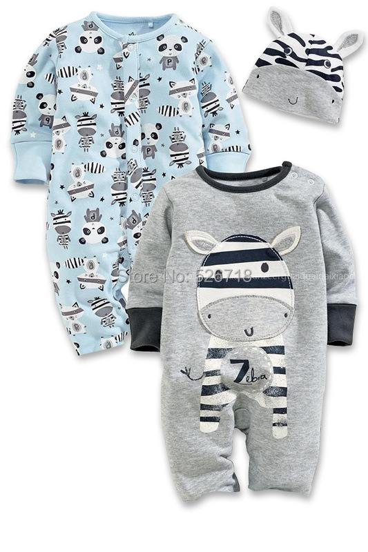 20ed13d9773a 3Pcs Set 0 24M Cute Animal Newborn Clothing Baby Rompers + Hat ...