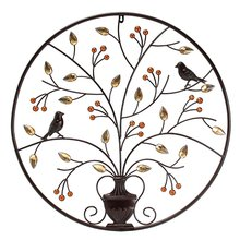 KiWarm Modern Black Birds Tree Metal Iron Sculpture Ornament for Home Room Wall Hanging Decoration Art Crafts Gift 62cm/24.4inch(China)
