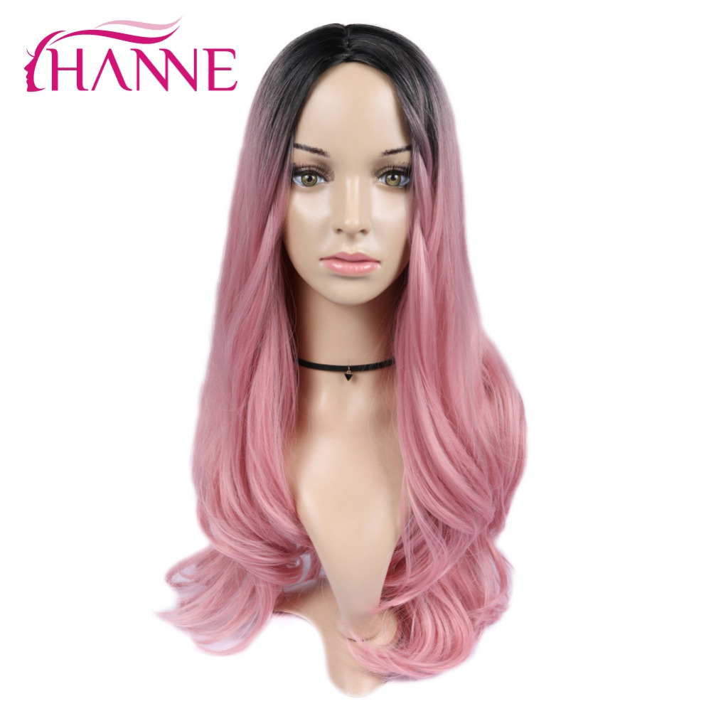 HANNE Ombre Synthetic Wigs High Temperature Fiber Black To Pink Middle Part Long Wavy Wigs For Black/White Women Daywear/Party
