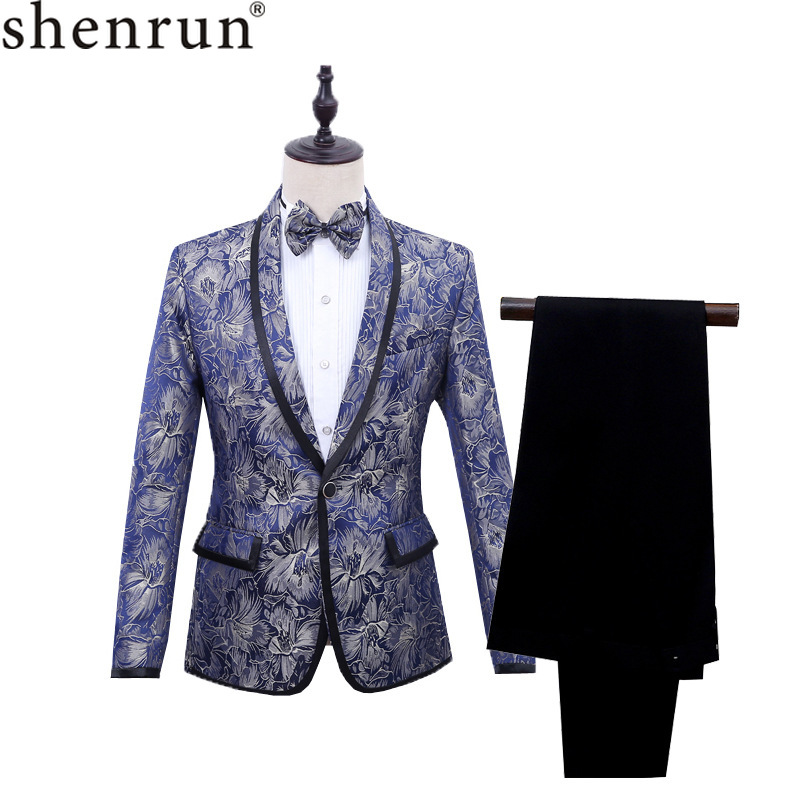 Shenrun Men Blue Tuxedo Slim Fit Blazer Floral Pattern Jacquard Shawl Lapel Men's Jacket Wedding Business Party Stage Costume