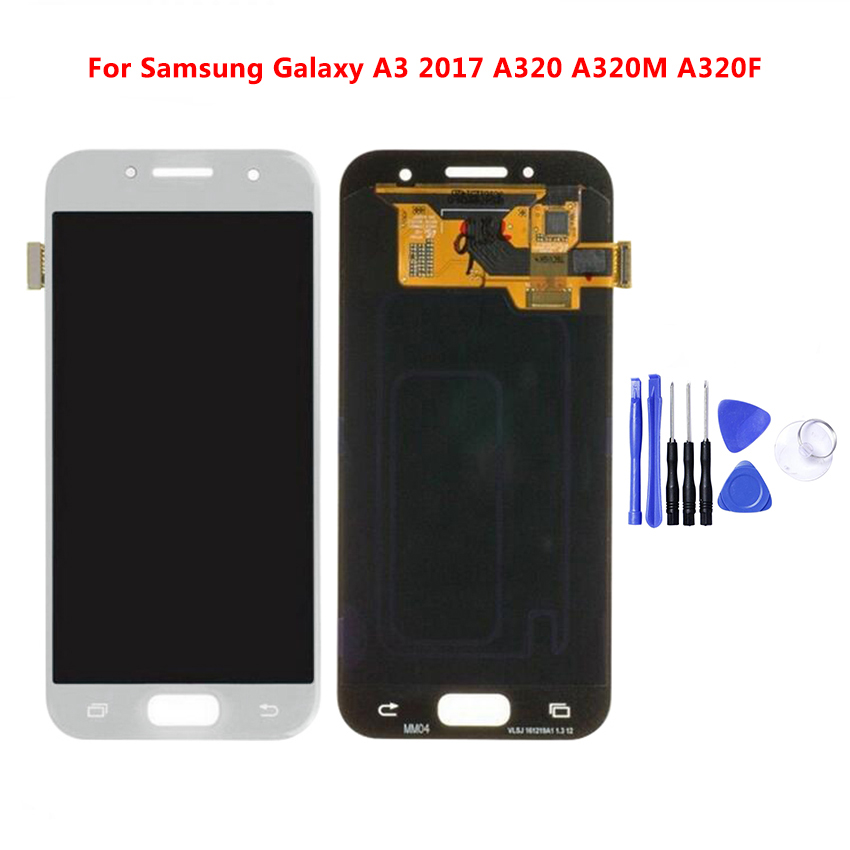 For <font><b>A320</b></font> <font><b>LCD</b></font> For Samsung Galaxy A3 2017 <font><b>A320</b></font> A320M A320F <font><b>LCD</b></font> Display Touch Screen Digitizer Assembly Brightness Replacement image