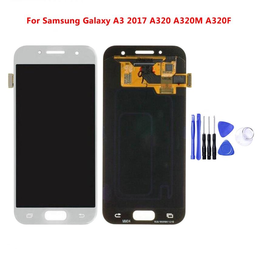 Pour A320 LCD pour Samsung Galaxy A3 2017 A320 A320M A320F LCD affichage écran tactile numériseur assemblée luminosité remplacement