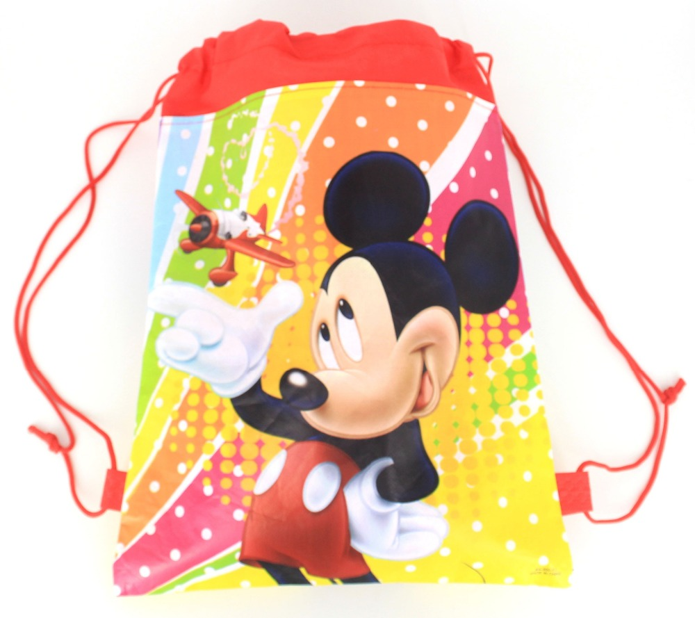 12ps fabric backpack schoolbag Cartoon Minnie Mickey Mouse Birthday Party Gifts