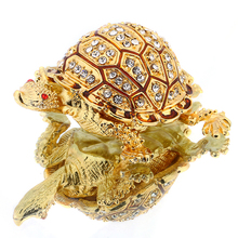 3*1.2IN Metal Gold Tortoise Shape Trinket Box Figurine Wedding Jewelry Storage Case  Birthday Gift Earring Ring Box DIY Crafts