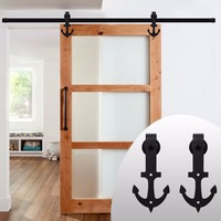 LWZH Vintage Style Strap Industrial Wheel Single Sliding Barn Wood Door Hardware Track Kit Anchor Shaped