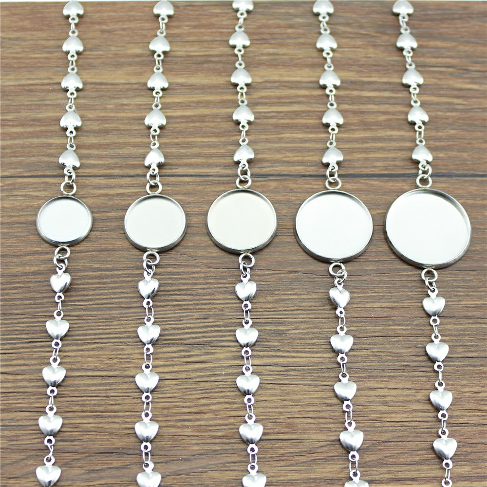 5pcs 5 Styles Fit 12/14/16/18/20mm Round Glass Cabochon Stainless Steel Material Heart/Cross/Bent Shape Chain Bracelet jumbo of glass blunt 5 styles