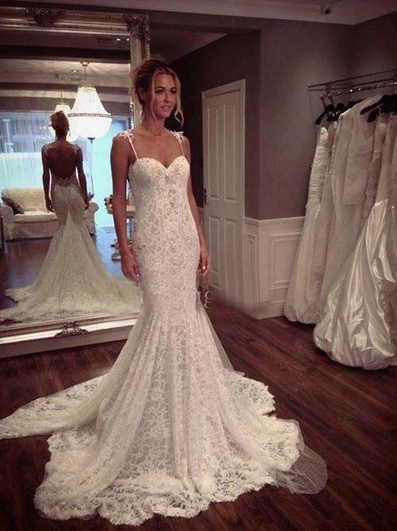 romatic back see through mermaid bohe lace wedding dress 2017 plus size spaghetti straps sexy bride dresses long train stylish in wedding dresses from