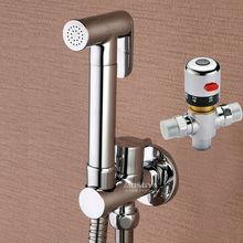 Термостатический латунный ручной распылитель биде для туалета, ванной комнаты, биде кран, мусульманский набор для душа, смеситель, клапан, шланг и держатель, 02-115
