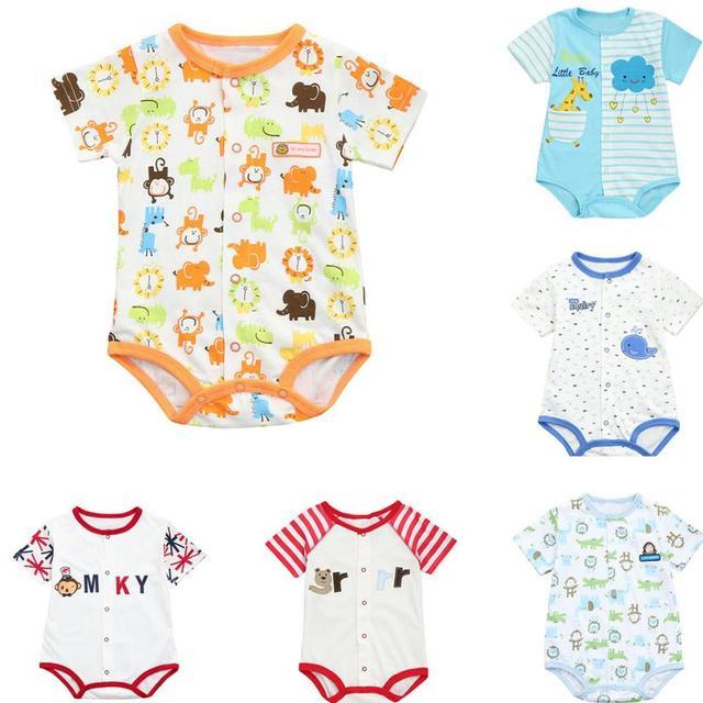 dd8c0ff8e Bebé Niños Niñas Ropa Set bebé recién nacido mamelucos manga corta raya  dibujos animados Animal imprimir