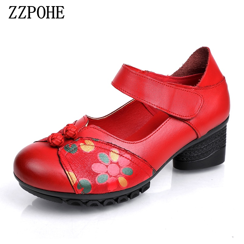 ZZPOHE Woman Shoes Non-Slip Handmade Genuine-Leather Women's Pumps Chinese-Style Ladies