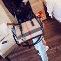 Estilo europeu e Americano Da Mulher Bolsa Xadrez saco crossbody Tote Sacos de Moda Bolsas de Couro Pu Bolsa de Ombro Casual Feminina