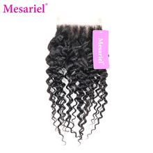 Mesariel Brazilian Free Part Closure Remy Hair Natural Color 10″-18″inch 100% Human Hair Kinky Curly Hair Closure