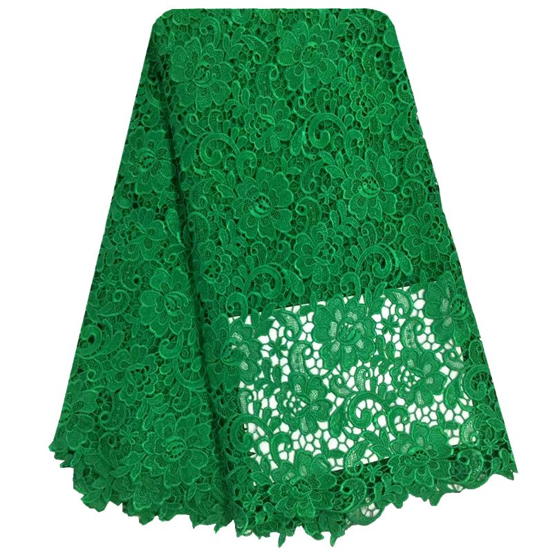 Green Guipure Lace Nigerian Wedding Dress Lace African Fabric Water Soluble Chemical Lace Floral Embroidery Cord Lace Fabric
